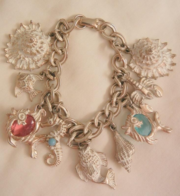 Fabulous vintage white washed sea theme crystal fish Aqua pink seahorse shell charm Bracelet