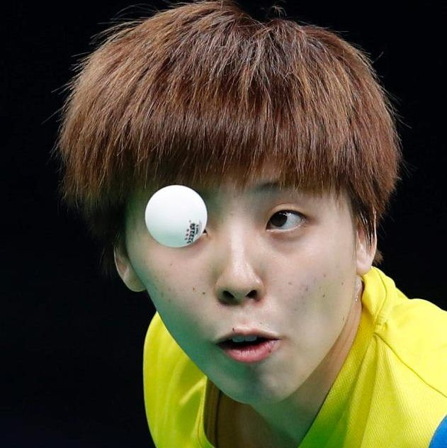 Yihan Zhou in action, in the table tennis.