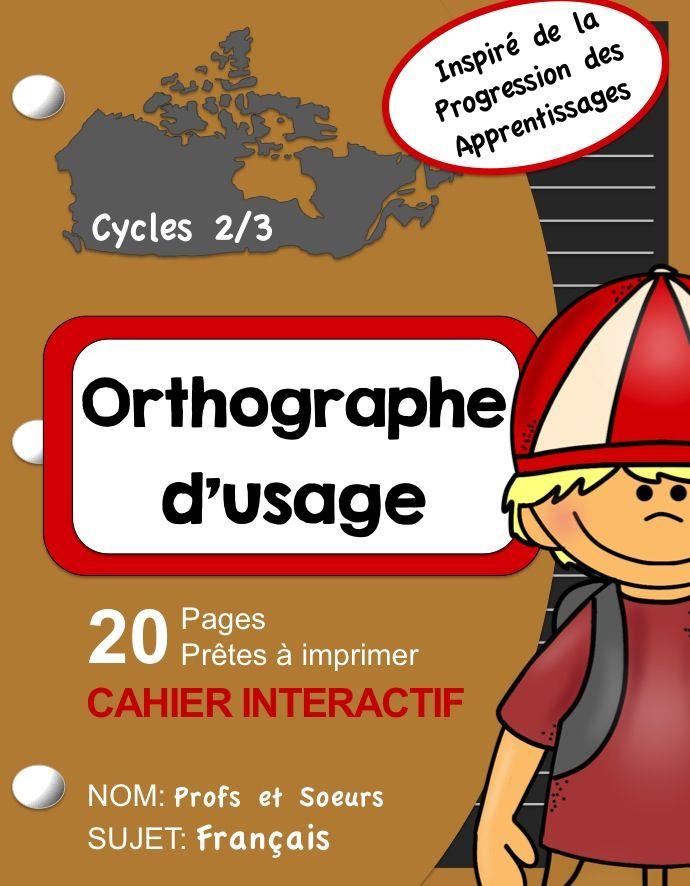 Cahier interactif sur l'orthographe d'usage