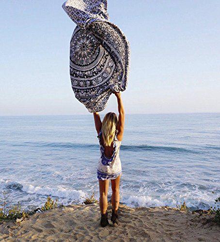 Rawyal - Arazzo rotondo indiano con mandala, stile hippie/boho, in cotone, utilizzabile come asciugamano da spiaggia, tovaglia e tappetino per lo yoga