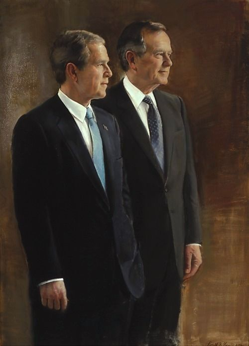 President George W. Bush and President George Bush isn't this at a at his library? I love this painting...can we get one for our house?