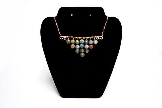 Fancy Jasper Statement Necklace  Stone Bead by FernsAreGreen