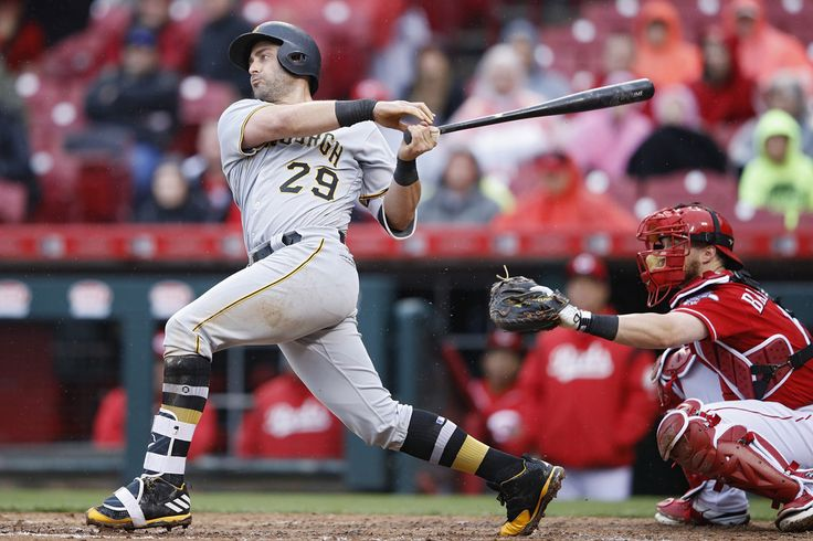 Francisco Cervelli Photos Photos - Francisco Cervelli #29 of the Pittsburgh Pirates doubles to left center field to drive in a run in the sixth inning of a game against the Cincinnati Reds at Great American Ball Park on May 4, 2017 in Cincinnati, Ohio. - Pittsburgh Pirates v Cincinnati Reds