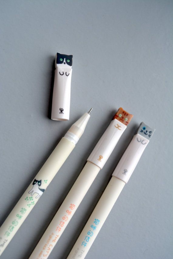 Cute Cat Gel Pen  1 pcs Korean Stationery  by BLOEMKOLIE on Etsy