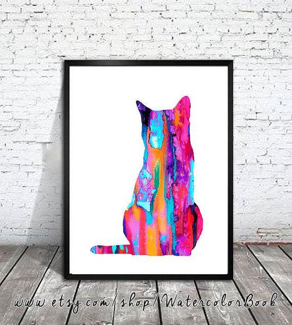 Gatto rosa dell'acquerello stampa arte del gatto di WatercolorBook