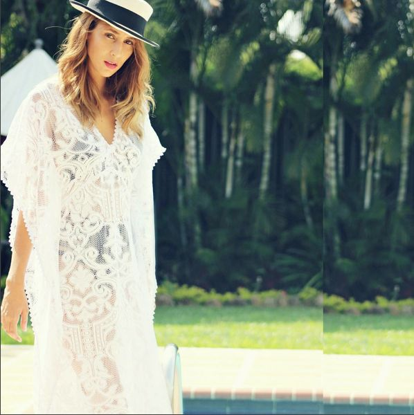 Saha style at the pool, beautiful @lasra.celin with our maxi crochet dress. Ref. 16K16  Find it at www.sahaswimwear.com
