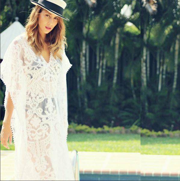 Saha style at the pool, beautiful @lasra.celin with our maxi crochet dress. Ref. 16K16  Find it at www.sahaswimwear.com