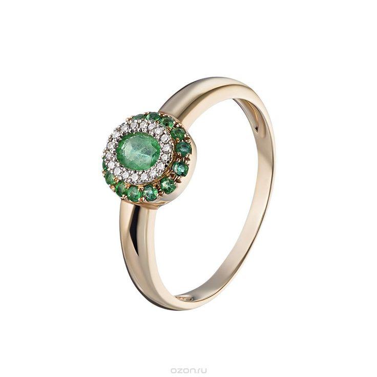 Яркое кольцо из розового золота с чередующимся узором из бриллиантов и изумрудов…