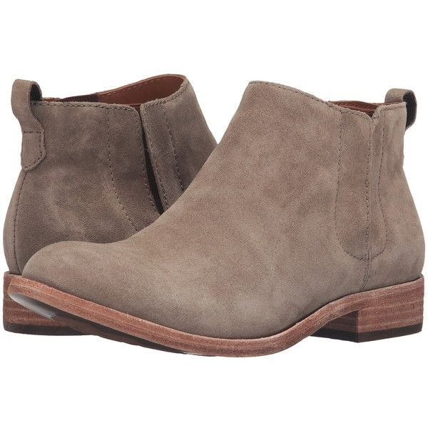Kork-Ease Velma (Taupe Suede) Women's Pull-on Boots ($190) ❤ liked on Polyvore featuring shoes, boots, ankle booties, bootie boots, short boots, low heel ankle boots, taupe suede ankle booties and suede ankle boots