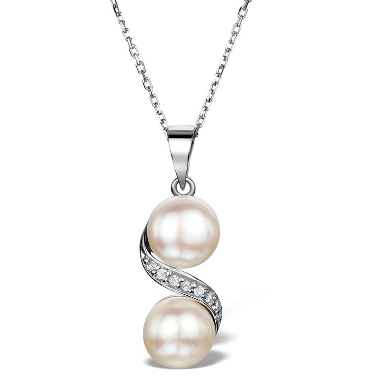 Pearl and White Topaz Twist Necklace in Sterling Silver - UR3221. #thediamondstoreuk #valentine #love #February #jewellery #pendant