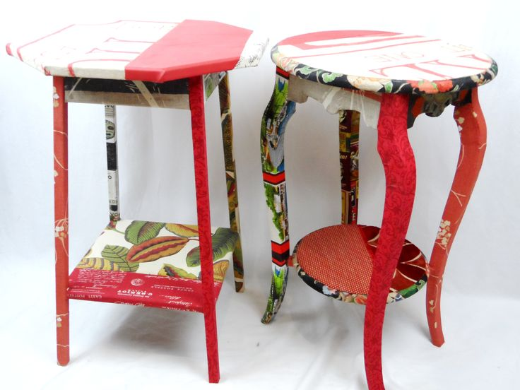 """Bespoke sort of """"pair"""" of bedside tables in my new fabric surface treatment."""