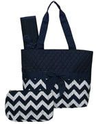 Monogrammed Machine Embroidered Quilted Diaper Bag- Navy Chevron Print with Navy Trim. Includes FREE Personal Embroidery