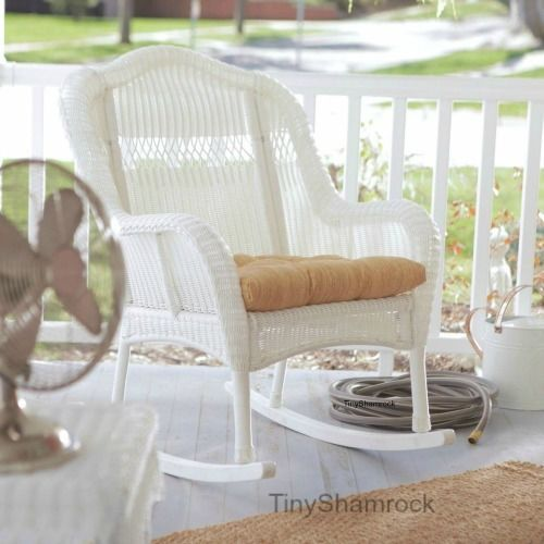 Wicker Rocking Chair Outdoor Porch Rocker Patio Furniture Victorian Style White #CCC
