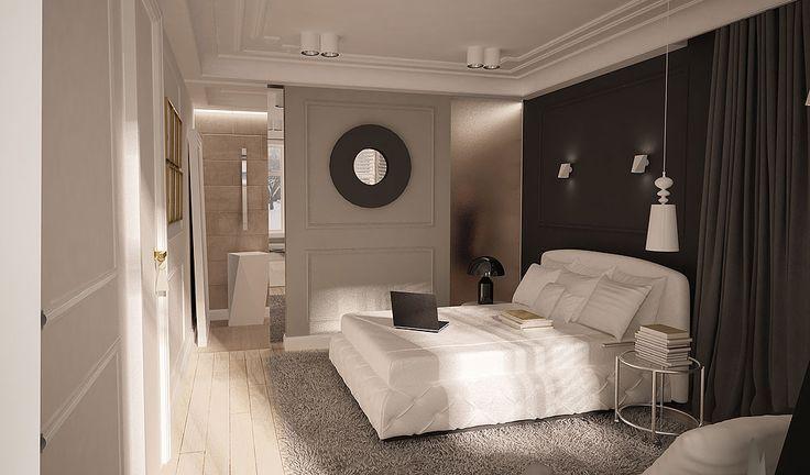projket wnętrza w Belgii sypialnia z łazienką