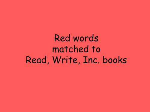 Read, Write, inc  green and red words