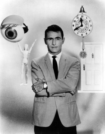 "Rod Serling hosting the TV show ""The Twilight Zone"". My favorite show from the early 1960's. Some of the episodes were really scary. ""Eye of the Beholder"" gave me nightmares for weeks!"