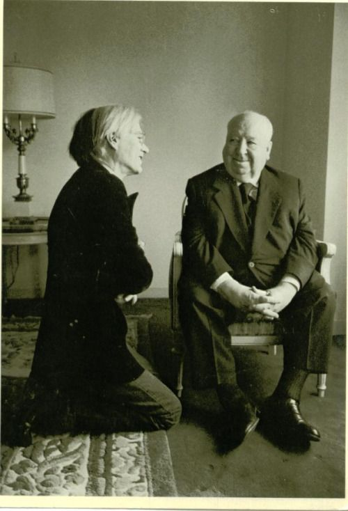 mariavontrapp:lottaryuryu | nickdrake:   Andy Warhol and Alfred Hitchcock