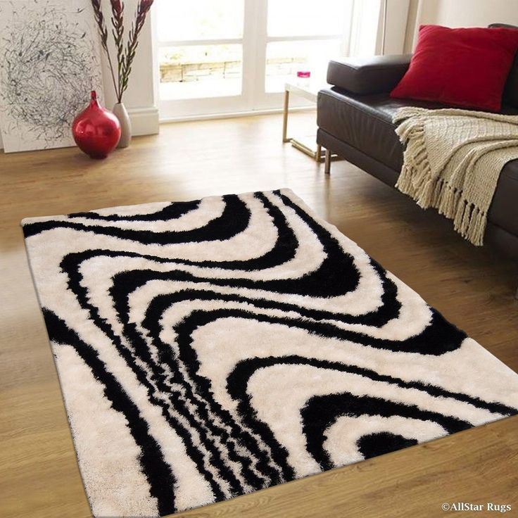 "Allstar White/ Black Stripe Design Thick High Pile Rug (4' 11"" X 6' 11""), Size 5' x 7' (Polyester, Abstract)"