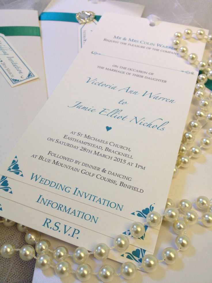 Beautiful teal luxury bespoke pocket wedding invitation