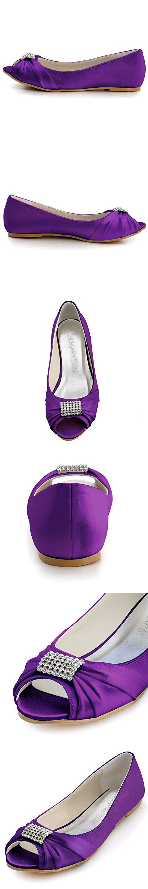 ElegantPark EP2053 Women Peep Toe Rhinestones Comfort Flats Pleated Satin Wedding Bridal Shoes Purple US 12