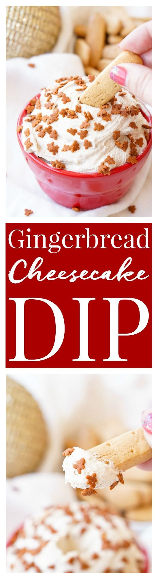 Gingerbread Cheesecake Dip is an easy and no-bake 4-ingredient dessert that's perfect when you need a festive treat in a pinch. via @sugarandsoulco