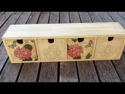 Cómo decorar cajonera vintage - craquelado y relieve- MYBA - YouTube