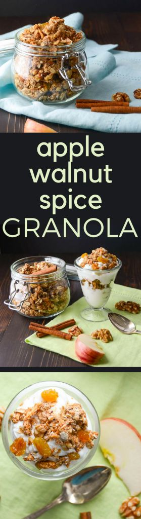 This recipe for homemade granola tastes like fall. Apple Walnut Spice Granola w/dried apple and apple pie spice is perfect over your morning yogurt. A fast, easy breakfast or brunch option. #apple #driedapple #granola #walnuts #applepiespice #homemadegranola #granolarecipe #healthybreakfastrecipe #healthybreakfast #brunch #breakfast #oatmeal #bakedoatmeal #walnuts #cinnamon #honey #vegetarianbreakfast