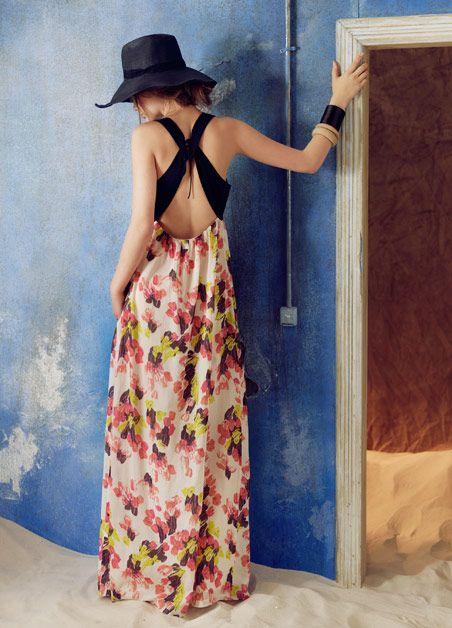 .backless!Long Dresses, Summer Dresses, Fashion Style, Maxis Dresses, Hoss Intropia, Floppy Hats, Black Hats, Floral Dresses, Open Back