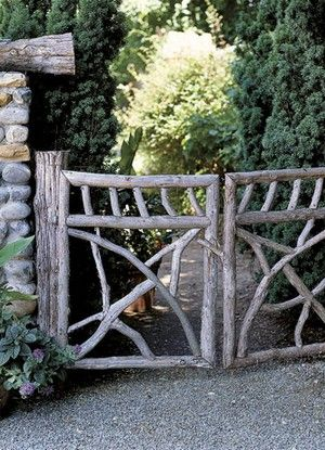 These rustic double gates make an intriguing focal point.