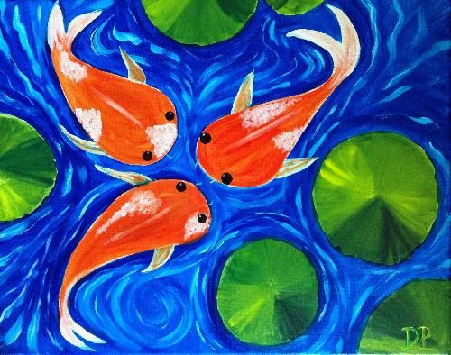 Pin by annie tse on art pinterest paintings acrylics for Koi fish pond for beginners