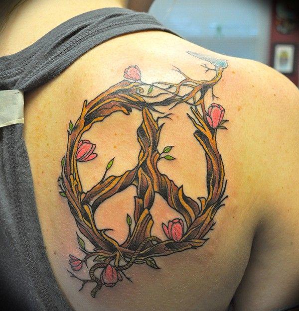 15+ Wonderful Floral Peace Sign Tattoo Inpirations