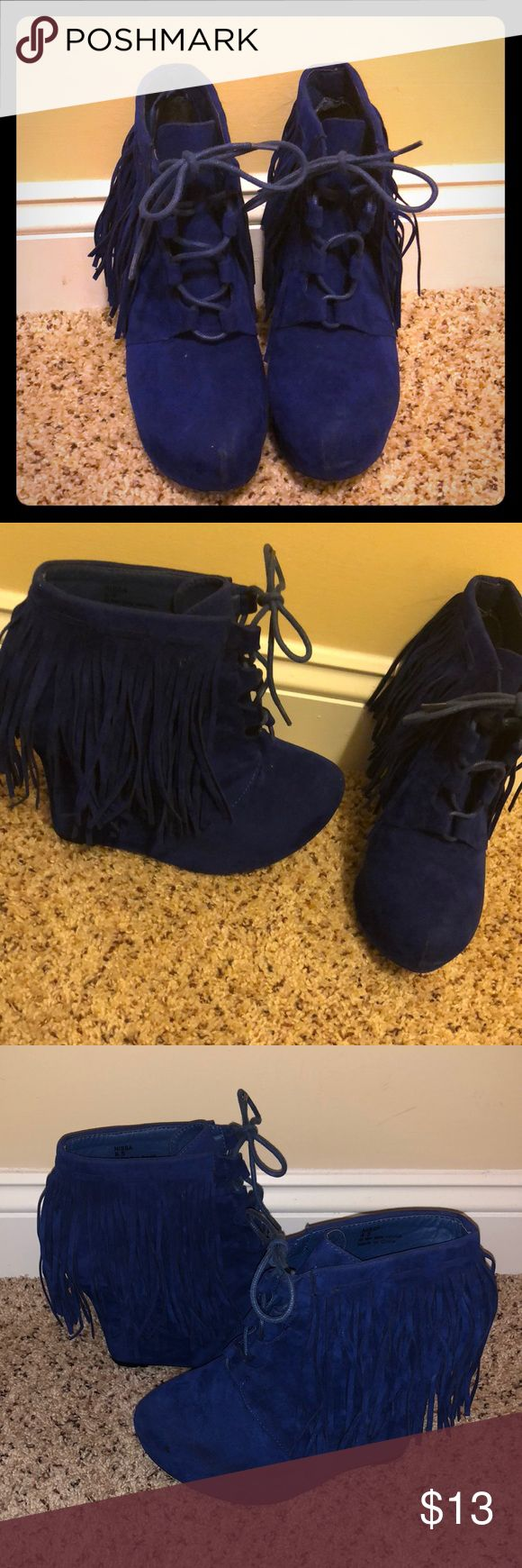 Royal Blue Wedges Privileged Wedges... They are high! Privileged Shoes Ankle Boots & Booties