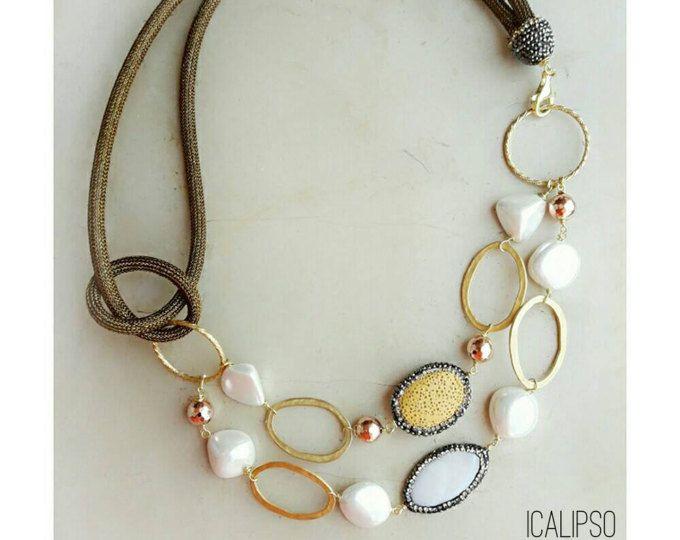 Boho collana, collana di perline, gioielli spiaggia, collana di perle, collana catena, regalo per lei, regalo per la moglie, regalo di compleanno, regalo per amico
