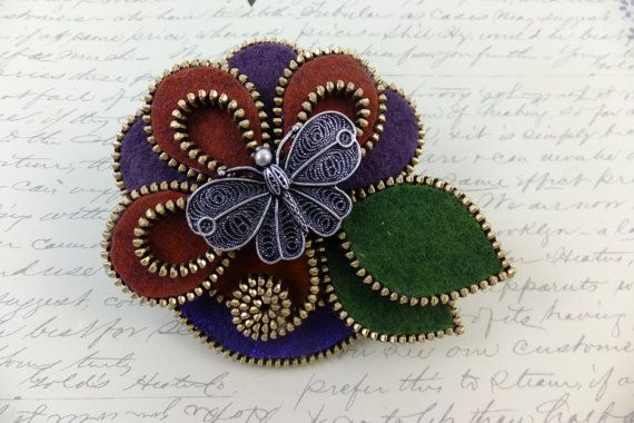 Flower with butterfly Felt Zipper Brooch For by MsLolaCreates, $34.00