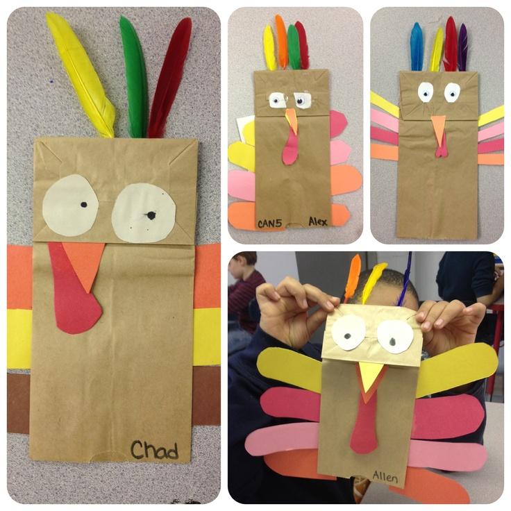 Thanksgiving paper bag turkeys art lesson - Special Ed - a focus on fine motor skills