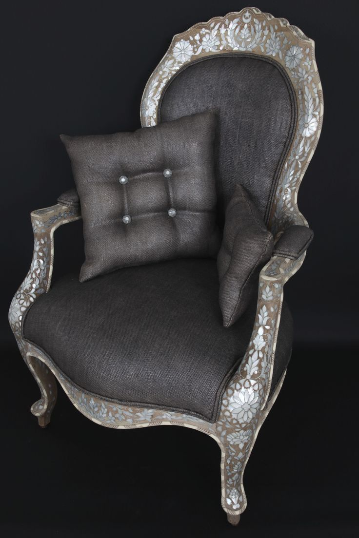 An amazing antique chair covered with Mother of Pearl patterns.  Designed By: Nevine Designs.To be ordered online through www.levantania.com