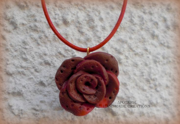 clay rose pendant