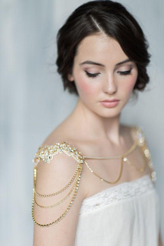 Collier d'or épaule mariée, Boléro en cristal, dentelle épaule pièce, collier d'épaule, épaule cristal chaine, collier de déclaration, JACQUELYN