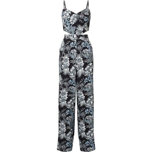 Miss Selfridge Print Cutout Jumpsuit ($63) ❤ liked on Polyvore featuring jumpsuits, women, cut out jumpsuit, print jumpsuit, cutout jumpsuit, jump suit and miss selfridge jumpsuit