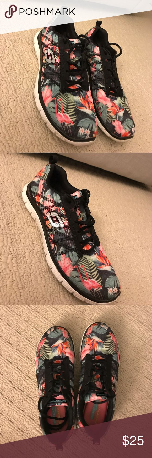 Tropical Skechers sneakers Adorable tropical printed Skechers. Black background with flamingo, bird of paradise and palm leaf print. Has memory foam insoles. Skechers Shoes Sneakers
