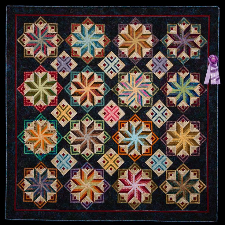 2012 Quilt Expo Quilt Contest, Honorable Mention, Category 3, Machine Quilted Bed Size Pieced: Logs and Stars in Scraps, Leslie Kiger, Saint Simons Island, Ga.: Logs Cabin Quilts, Favorit Patterns, Quilts Patterns, Quilts Inspiration, Stunning Logs, Kaleidoscopes Quilts, Eldon Quilts, Machine Quilts, Leslie Kiger