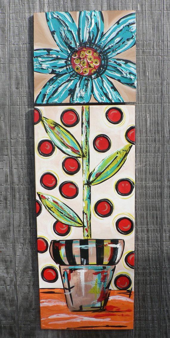 Flower Textured Hand Painted Original by lisatylerart on Etsy, $175.00