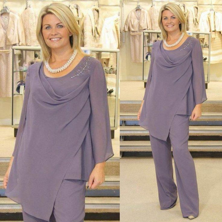 Free shipping, $97.39/Piece:buy wholesale Two-Pieces Mother of the Bride Pant Suits with Trousers Pants Jewel Neck Long Sleeve Beaded Chiffon Plus Size Groom 2015 Light Purple from DHgate.com,get worldwide delivery and buyer protection service.  Explore our amazing collection of plus size  suits at http://wholesaleplussize.clothing/