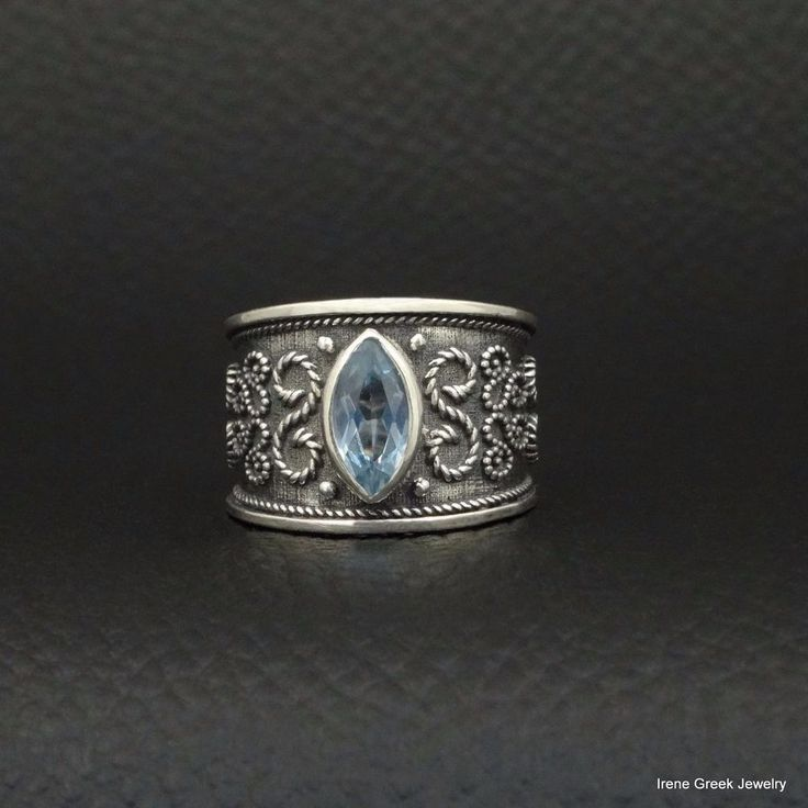 RARE BLUE TOPAZ CZ BYZANTINE STYLE 925 STERLING SILVER GREEK HANDMADE ART RING #IreneGreekJewelry #Band