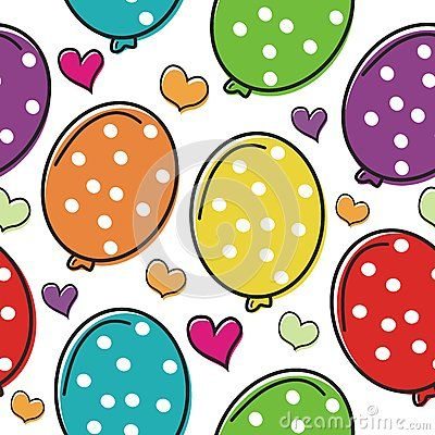 Cute balloon cartoon with love  seamless pattern with colorful and bright design…
