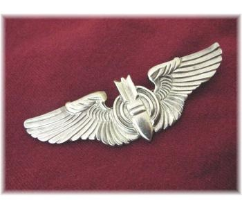 """RARE WW ll Army Air Force Sterling Wings Bombardier 3"""" Pin + Free Submarine Pin - Vintage Jewelry"""