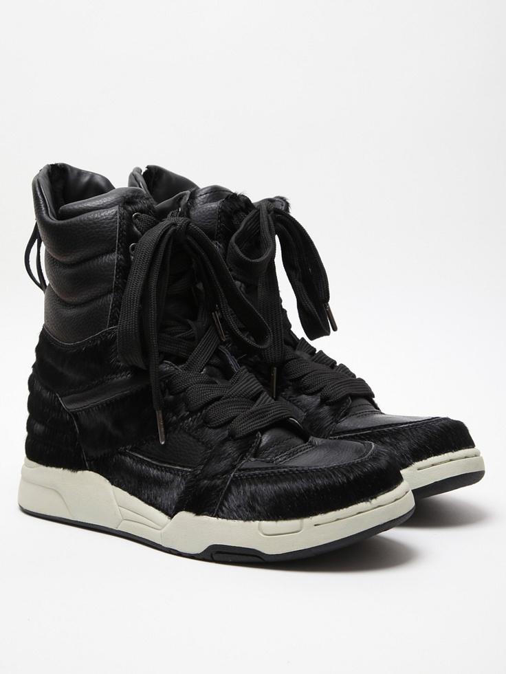 Diet Butcher Slim Skin Horse Hair High Top Sneaker in black at oki-ni
