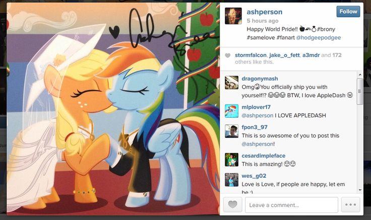 Equestria Daily: Ashleigh Ball Posts AppleDash for World Pride Day