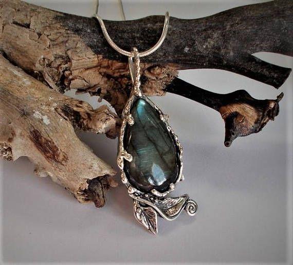 Labradorite teardrop pendant  leaf and swirl sterling silver