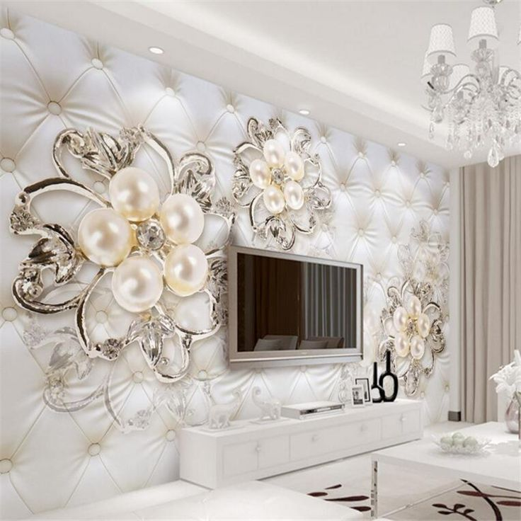 Charming 3D Wall Papers Home Decor Imitation Leather European Soft Pearl Flower  Wallpaper 3 D Living Room Part 28